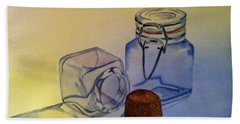 Reflective Still Life Jars Beach Towel