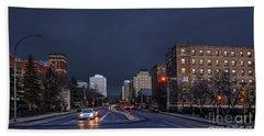 Regina Street At Night Beach Towel