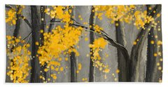 Rejuvenating Elements- Yellow And Gray Art Beach Towel