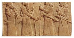 Relief Depicting King Shalmaneser IIi 858-824 Bc Of Assyria Meeting A Babylonian Stone Beach Towel