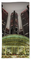 Renaissance Center Detroit Michigan Beach Towel by Nicholas  Grunas