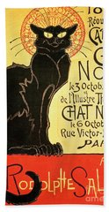 Reopening Of The Chat Noir Cabaret Beach Towel by Theophile Alexandre Steinlen