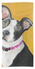 Beach Towel featuring the painting Rescued Pit Bull by Jeanne Fischer