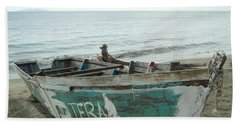 Resting Fishing Boat Beach Towel