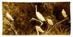 Resting Flock Sepia Beach Towel