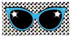 Retro Blue Cat Sunglasses Beach Towel