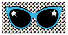 Beach Towel featuring the digital art Retro Blue Cat Sunglasses by MM Anderson