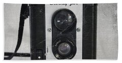 Retro Camera Beach Towel by Linda Woods