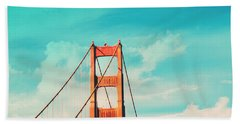 Retro Golden Gate - San Francisco Beach Sheet by Melanie Alexandra Price