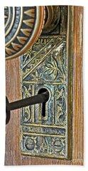 Retro Intricate Door Knob And Metal Key Art Prints Beach Towel by Valerie Garner