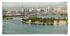 Retro Style Miami Skyline And Biscayne Bay Beach Towel