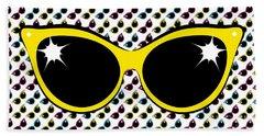 Retro Yellow Cat Sunglasses Beach Towel