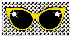 Beach Towel featuring the digital art Retro Yellow Cat Sunglasses by MM Anderson