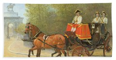 Returning From Her Majestys Drawing Room Beach Towel by Alfred Corbould