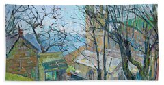 Reverend Hawkers Church At Morwenstow Oil On Canvas Beach Towel