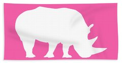 Rhino In Pink And White Beach Towel