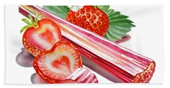 Rhubarb Strawberry Beach Towel by Irina Sztukowski