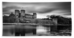 Rhuddlan Castle Beach Towel by Dave Bowman