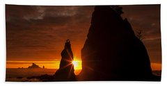 Rialto Beach Sunset Percusion Beach Towel