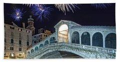 Rialto Bridge Fireworks Beach Towel