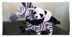 Beach Towel featuring the photograph Riding A Zebra.traveling Pandas Series by Ausra Huntington nee Paulauskaite