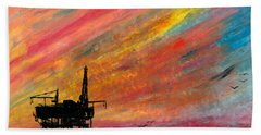 Rig At Sunset Beach Towel
