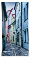Riga Narrow Street Painting Beach Towel by Antony McAulay