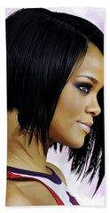 Beach Sheet featuring the painting Rihanna Artwork by Sheraz A