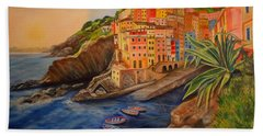 Riomaggiore Amore Beach Sheet by Julie Brugh Riffey