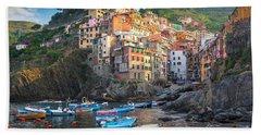 Riomaggiore Boats Beach Towel