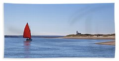 Ripple Catboat With Red Sail And Lighthouse Beach Sheet