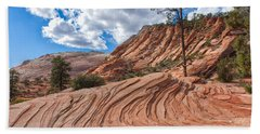 Beach Towel featuring the photograph Rippled Rock At Zion National Park by John M Bailey