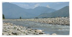 Riverbank Water Rocks Mountains And A Horseman Swat Valley Pakistan Beach Towel