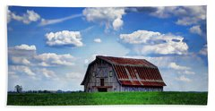 Riverbottom Barn Against The Sky Beach Sheet by Cricket Hackmann