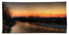 Riverscape At Sunset Beach Towel