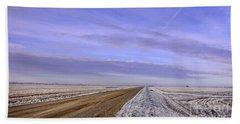 Road And Fild In Winter Time In Saskatchewan Beach Towel
