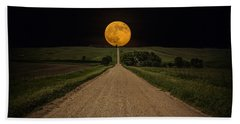 Road To Nowhere - Supermoon Beach Towel by Aaron J Groen