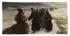 Road To Siberia Oil On Canvas Beach Towel