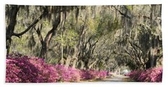 Road With Azaleas And Live Oaks Beach Towel
