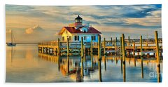 Roanoke Marsh Lighthouse Dawn Beach Towel by Nick Zelinsky
