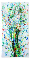 Robert Plant Singing - Watercolor Portrait Beach Towel by Fabrizio Cassetta