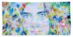 Robert Plant - Watercolor Portrait Beach Sheet by Fabrizio Cassetta