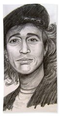 Beach Sheet featuring the painting Robin Gibb by Patrice Torrillo