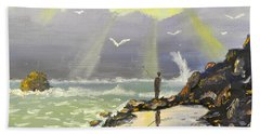 Beach Towel featuring the painting Rock Fishing At Wombarra  by Pamela  Meredith