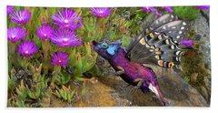 Rock Flower Birguana Fly Beach Towel