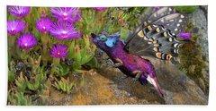 Beach Sheet featuring the digital art Rock Flower Birguana Fly by Arthur Fix