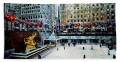 Rockefeller Center Ice Skaters Nyc Beach Towel