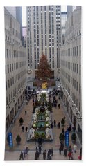 Rockefeller Plaza At Christmas Beach Towel