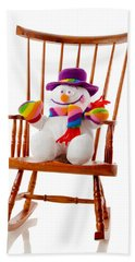 Beach Towel featuring the photograph Happy Snowman Sitting In A Rocking Chair  by Vizual Studio
