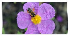 Beach Towel featuring the photograph Rockrose Flower With Bee by George Atsametakis